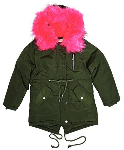853b26af0a4 Girls Combat Pocket Faux Fur Lined Fishtail Parka Style Hooded Coat sizes  from 3 to 14 Years  Amazon.co.uk  Clothing