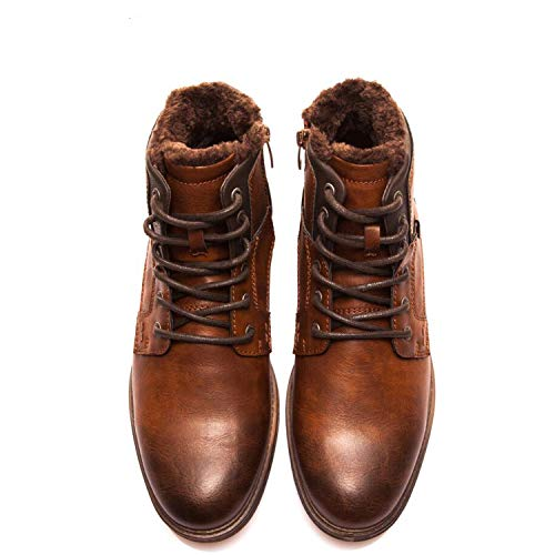 Autumn Winter Fashion Men Boots Vintage Style Casual Men Shoes Lace-Up Warm Plush Waterproof Motorcycle Boots XHY12504BR/M,XHY12504M,8 ()