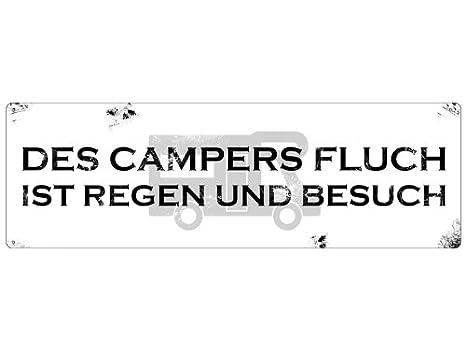 Des Campers Fluch Regen und Besuch Camping Holzschild Schild HDF