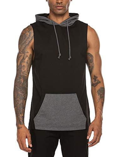 COOFANDY Men's Workout Cotton Hoodie Vests Bodybuilding Gym Sleeveless Pullover Sweatshirt, Black, Small