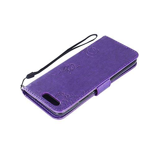 Funda Huawei P10 Alta Calidad de Cartera de Cuero PU Carcasa(con Lápiz Táctil Negro),Elegante Stylish Mariposa Flor y Hormiga Hojas Patrón Diseño,kaseHom Interior Dura Silicona TPU Bumper Flip Estilo  Color Púrpura