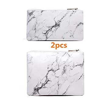 067ede8ebb4d Joyful 2pcs Marble Cosmetic Bag Zipper Storage Bag Portable Ladies Travel  Square Makeup Brushes...