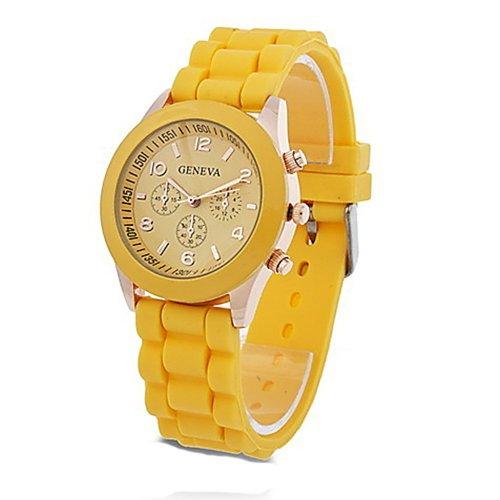 Unisex Geneva Silicone Jelly Gel Quartz Analog Sports Wrist Watch (Yellow)