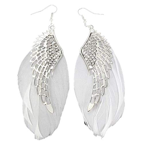 Clearance! Bohemian Angel Metal Wing Handmade Vintage Tribal Feather Long Drop Dangle Earrings For Women (White, Alloy) for $<!--$1.89-->