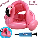 BSWEEII Baby Pool Float with Canopy Flamingo Inflatable Swimming Ring Infant Pool Floaties Swimming Pool Sunshade Summer Toys for Baby Girls Boys Toddlers 6-48 Months Pink Swim Ring with Free Pump