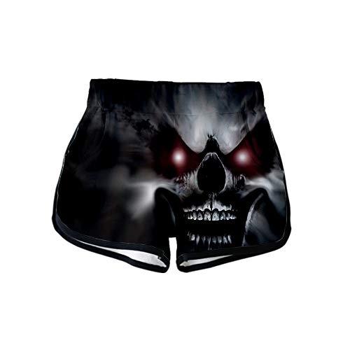 (URVIP Women Halloween 3D Swim Trunks Summer Board Beach Shorts Bathing Suit Skull-19)