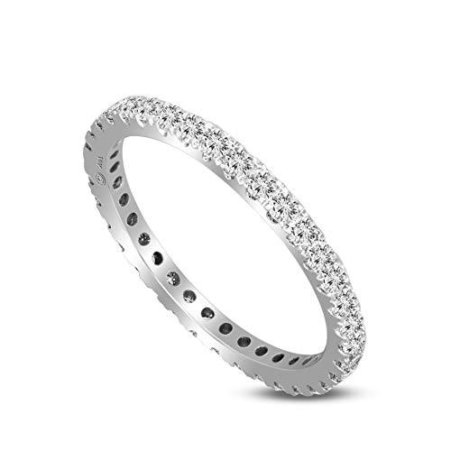100% Pure Diamond Ring Luxury Full Eternity Band Rings 5/8 ct Lab Grown Diamond Engagement Rings Lab Created Diamond Rings SI-EG Quality 14K Real Diamond Rings Size-5.5 Diamond Jewelry Gifts - Ct Si 0.18 Diamond