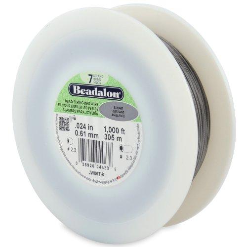Bright Beadalon 7 Strand Beading (Beadalon 7-Strand Bead Stringing Wire, 0.024-Inch, Bright, 1000-Feet)