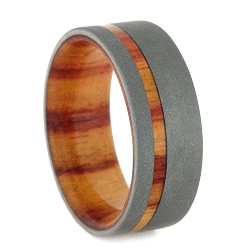 Beadblast Titanium 8mm Comfort Fit Tulip Wood Flat Band and Sizing Ring, Size 7 by The Men's Jewelry Store (Unisex Jewelry)