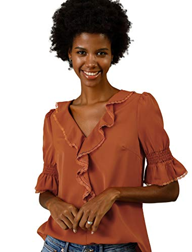 (Allegra K Women's Ruffle V Neck Half Bell Sleeve Blouse Summer Vintage Casual Chiffon Peasant Top M Brown Red)