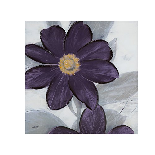 Madison Park Midnight Bloom Plum Painted Hand Embellished Floral Canvas Wall Art 30X30, Transitional Wall Décor