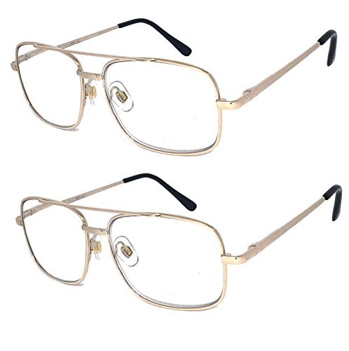 V.W.E. 2 Pairs Metal Frame Aviator No Line Progressive Clear Lens Spring Hinge Reading Glasses (Gold, 3.00)