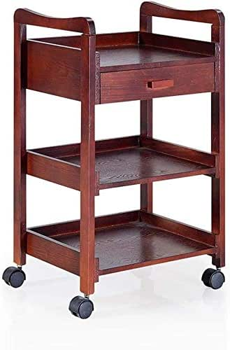 BXZ Hospital Trolley, Medical Supplies Rack,Rack Shelf Trolley, Wooden Dining Car Rack Simple Fashion Light Mobile Convenient Restaurant Hotel Wine Cart Beauty Salon Cart, 4 Colors, 50X39X80Cm Stroll