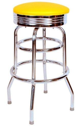 Richardson Seating 0-1971YEL Retro Chrome Swivel bar Stool with Seat Metal, 30