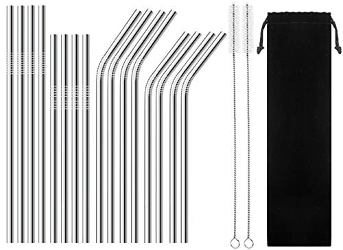 BGMAX Reusable Stainless Steel Straws Set of 16 for 30oz 20oz Tumblers Starbucks Mason Jar, Long Short 8.5'' 10.5'' Metal Drinking Straight Bent Straws for 30 20 Ounce Yeti Ozark Trail Rambler Rtic by BGMAX