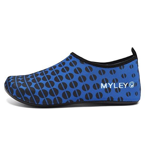 EQUICK Frauen Wasser Schuhe Quick-Dry Verschnaufpause Sport Haut Schuhe Barfuß Anti-Rutsch-Multifunktionssocken Yoga Übung Ein blaues