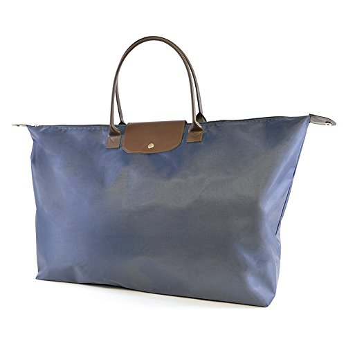 Large Canvas Zip Blue Top Foldable Tote With closure Shopper Leather wvRwgq1