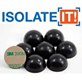 """Isolate It!: 1"""" (2.54cm) Sorbothane Hemisphere Rubber Bumper Non-Skid Feet with Adhesive 50 Durometer - 8-Pack"""