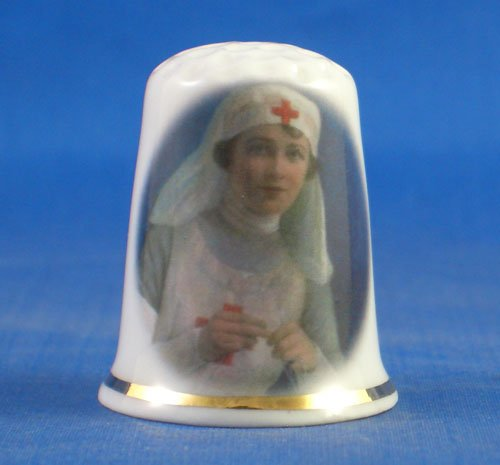 Porcelain China Collectable Thimble - Red Cross Nurse Knitting - Free Gift Box