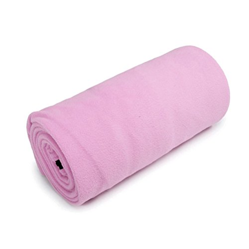 Light Warm Polar Fleece Camping Sheet Single Sleeping Bag Liner with Pillow Package (Pink)