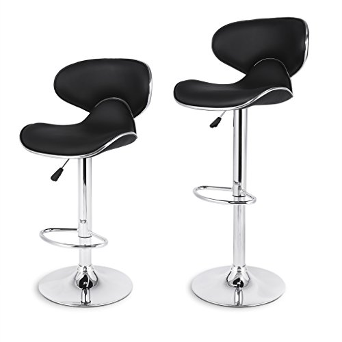 LANGRIA Shanghai Tall Bar Stools Set with Leatherette Exterior, Chrome Plated Footrest and Base for Bar, Counter or Home (2 PCS, Black)