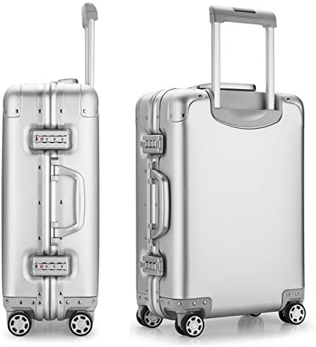 Aluminum Alloy Luggage Hard Shell Carry-ons Zipperless Hard Suitcase with Spinner Wheels, TAS Locks – 20 inch Silver