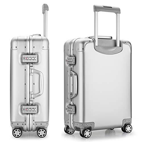 Aluminum Alloy Luggage Hard Shell Carry-ons Zipperless Hard Suitcase with Spinner Wheels, TAS Locks - 20 inch Silver