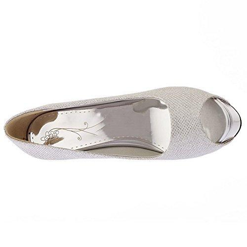 Sandaler Kraft Sølv På Toe pip Fast F Stil Allhqfashion Pigger qwa8vnA