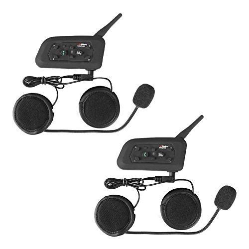 Motorcycle Helmet Bluetooth Headset Intercom Full-face Sports Speaker Low Profile Wireless Headphone 6 Riders Communicator 500m Talk for Riding, Trip, Cruise, Offroad, Snow WEIKAN (2 Pack) - Two Way Radio Helmets