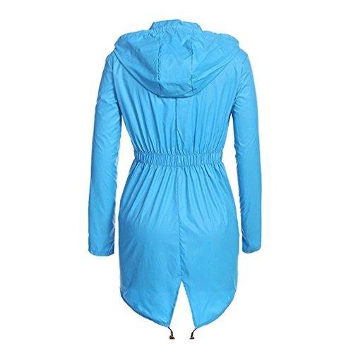 De Capucha Azul Cielo Capa Impermeable Prueba Para Con A Escudo Viento Mujer Hibote Chaqueta Cordón Cremallera qZUwEE74