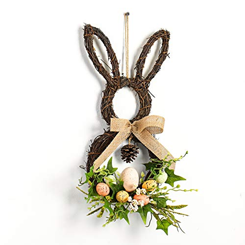 MIXNOVO Front Door Wreath Easter Bunny 18'' Wreath Grapevine Twist Base with Eggs