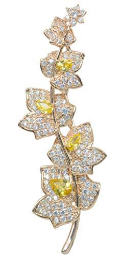 Gyn&Joy Women's 18K Rose Gold Plated Yellow and Clear Cubic Zirconia Wedding Bridal Flower Leaf Brooch BZ236