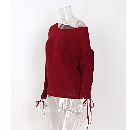 Tricot Col Pull Casual Femme AHOOME Longue Shirt Vin Sweater Chandail Hiver 2 Manche Rouge 2017 Automne Sexy Bateau T Top Shirt 6B8In8qO