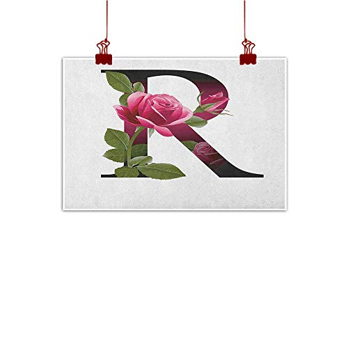 Wall Painting Prints Letter R,Capitalized R Symbol with Flower of Love Rose Nature Inspired Font Alphabet, Pink Green White 24