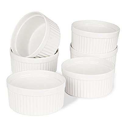 Porcelain Ramekins,SZUAH Ramekin Set,4oz/8oz for Baking, Creme Brulee, Souffle, Appetizer, Custard? Pudding, Dipping Bowl.