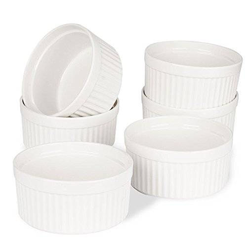 Souffle Individual Dish (Porcelain Ramekins, SZUAH Ramekin Set of 6, 8oz for Baking, Creme Brulee, Souffle, Appetizer, Custard, Pudding, Dipping Bowl.)