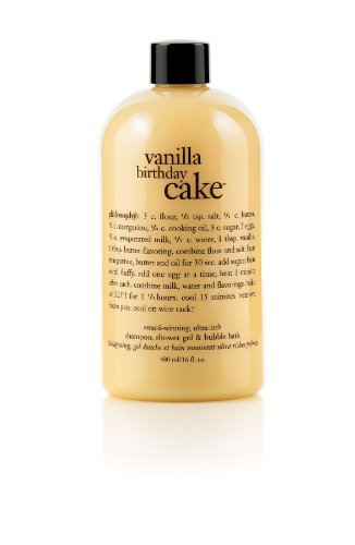 Philosophy Vanilla Birthday Cake Shampoo/Shower Gel/Bubble Bath, 16 Ounces (Vanilla Cake)