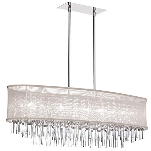 Dainolite Lighting JOS368-PC-117 8-Light Crystal Oval Chandelier with Oyster Shade
