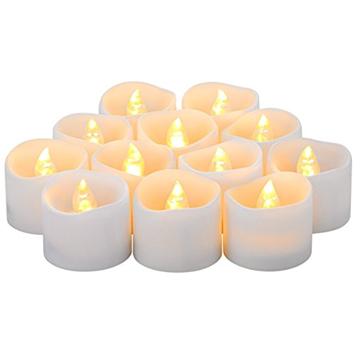 LED Lytes Flameless Candles, Set of 12 Battery Operated Tea Lights with 6 Hour Timer and Amber Yellow Flame - 100 Flameless Tea Lights Timer