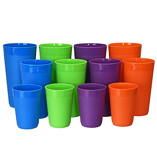 12pc Newport Unbreakable Plastic Cup Tumblers in 4 Tropical Colors, four 10oz juice, four 20oz water and four 32oz iced tea (Plastic Cup Set)