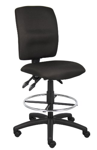 Crepe Chair Fabric Task - Boss Office Products B1635-BK Multi-Function Fabric Drafting Stool without Arms in Black