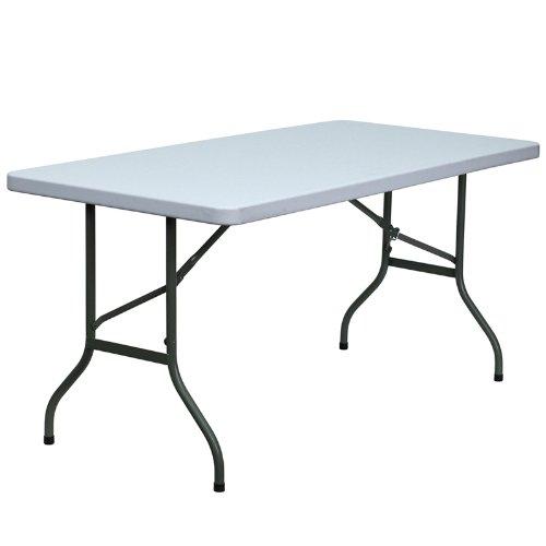Flash Furniture 30''W x 60''L Granite White Plastic Folding Table (60 Inch L-desk)