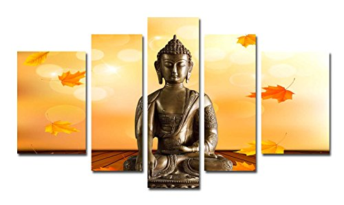 Funpark Framed Modern Buddha Print on Canvas 5 Panels Wall Art ...