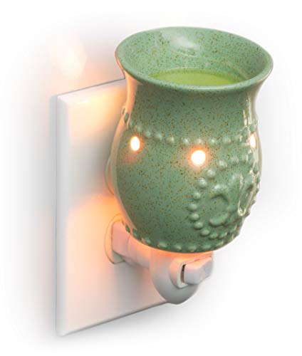 Dawhud Direct Plug-in Fragrance Wax Melt Warmers (Sage Green Fleur-de-lis) (Better Homes And Gardens Wax Cubes Vs Scentsy)