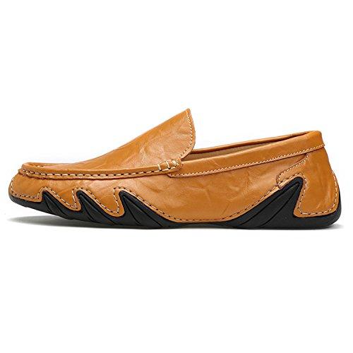 Zapatos Mocasines de Zapatos Genuino hacia Verano Resbalón Fuera Ahueca Hombre Respirables de Cuero Marrón Primavera Mocasines en Conducción Esthesis SqwE5Xn