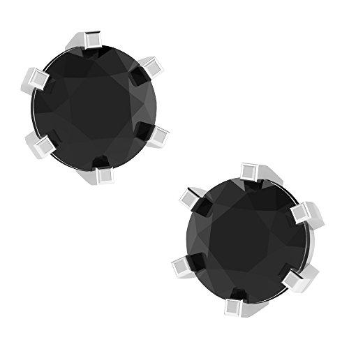Libertini Boucle d'oreille argent 925 plaque or Jaune serti de Diamant Solitaire
