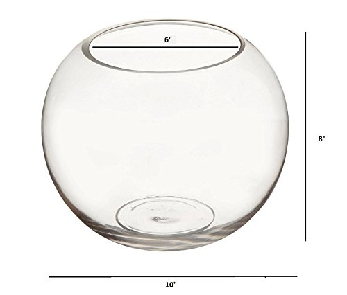 Candles4Less - 10 x 8 Inch Clear Glass Bubble Bowl Vases (Set of 4) by Candles4Less