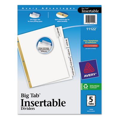 Avery 11122 WorkSaver Big Tab Dividers, Clear Tabs, 5-Tab, Letter, White, 1/Set