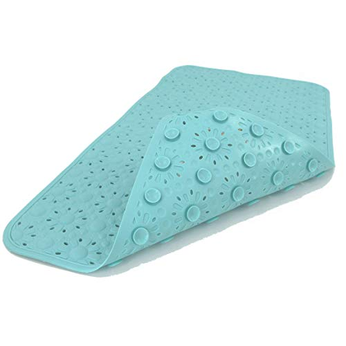 - SafeLand Original Patented Non-Slip Bath, Shower, Tub Mat, 30x16 Inch, TPR Material, Eco-Friendly, Non-PVC, Machine Washable, Extra-Soft with Powerful Gripping Suction Cups, Floral – Aqua - 2 pcs