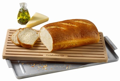 (Calphalon 18-by-9-by-3/4-Inch Bread Cutting Board with Aluminum Crumb)